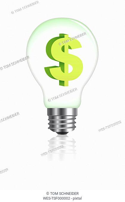 Dollar sign in lightbulb on white background