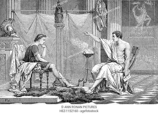 Alexander the Great (356-323 BC) as a youth, listening to his tutor Aristotle, c1875. In only 13 years, Alexander III of Macedon conquered a vast empire...