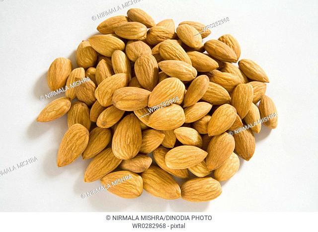 Dry fruit , whole Almonds nuts Badam Prunus dulcis on white background