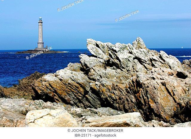 FRA, France, Normandy: Mot western point of Normandy, Cap de la Hague. St.Germain des Vaux. Lighthouse Goury