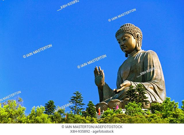 Famous Big Buddha statue at Po Lin Monastery on Lantau Island in Hong Kong