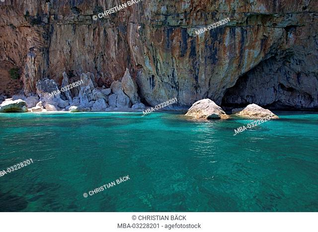 Rock coast between Cala Luna and Cala Mariolu, East sardinia, Sardinia, Italy, Europe
