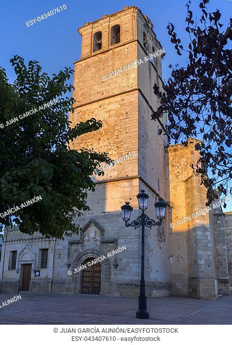 Parish Church of San Pedro Apostol in Montijo, Badajoz, Spain. Key rural destination at Extremadura
