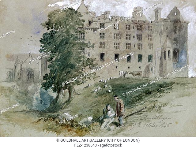 'Linlithgow Castle', West Lothian, Scotland, 1845; with figures in the foreground