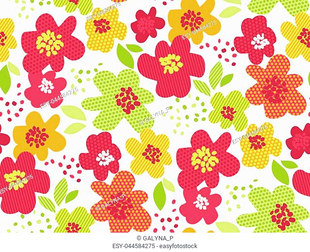 Abstract summer tropical flower seamless pattern. Decorative geometric textured floral repeatable motif. Vivid color stock vector illustration on white...