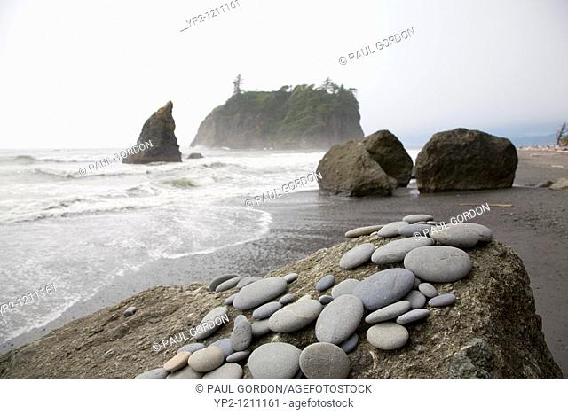 Collection of Stones on a Rock at Ruby Beach, Olympic National Park on the Olympic Penninsula