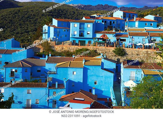 Juzcar, Genal Valley, Genal river valley, Serranía de Ronda. Smurfs Village, Málaga province, Andalusia. Spain