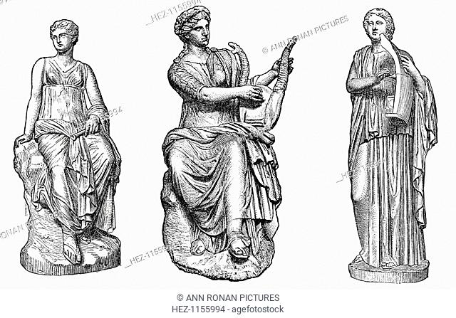 Ancient Greek muses of music and dance. Left to right: Euterpe, inventor of the double flute, associated with Dionysiac music and pleasure; Erato