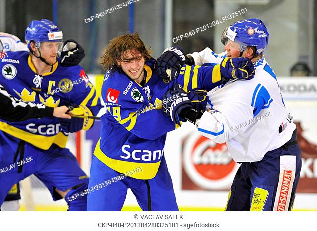 Left to right: Staffan Kronwall, Calle Jarnkrok (both SWE) and Lasse Kukkonen (FIN) during the Euro Hockey Tour ice hockey match in Brno, Czech Republic