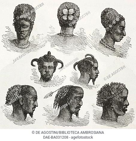 Hairstyles of Wuaguhha and other people living around Lake Tanganyika, Tanzania, engravings from the English edition of Journey across Africa
