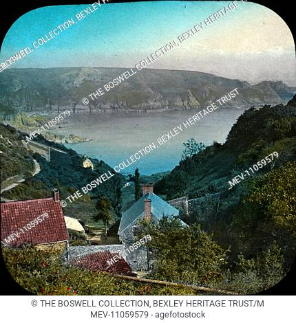 The Channel Islands - Moulin Huet Bay - Hillside view - houses down to bay. Cliffs opposite. Part of Box 234 Boswell Collection - The Channel Islands http://www