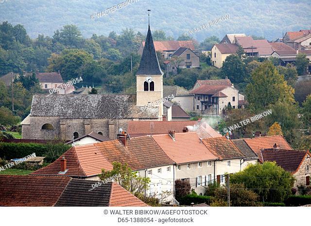 France, Saone-et-Loire Department, Burgundy Region, Maconnais Area, Ozenay, village overview from vineyards, autumn