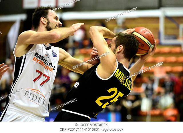 Vojtech Hruban of Nymburk, left, and Vladimir Mihailovic of Ostende in action during the European Men's Basketball Cup 6th round D group game played in Nymburk
