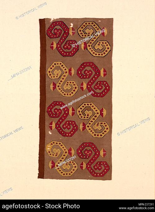 Fragment - A.D. 1000/1476 - Probably central coast, Peru - Origin: Peru, Date: 1000-1476, Medium: Cotton and wool (camelid)