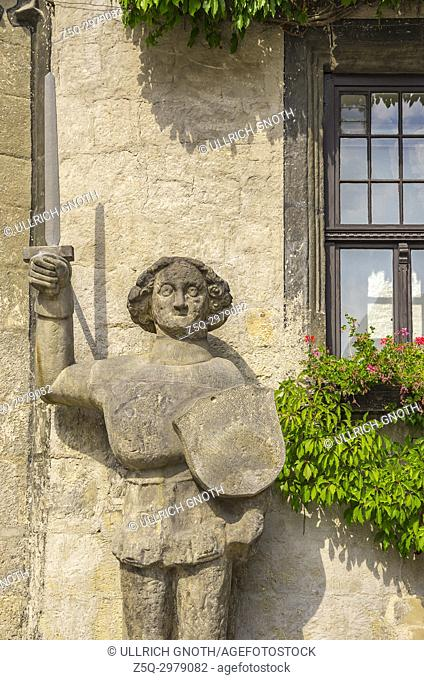 Roland statue in front of the town hall of Quedlinburg, Saxony-Anhalt, Germany