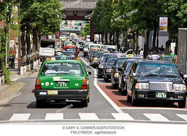Taxis and other traffic in Tokyo, Japan