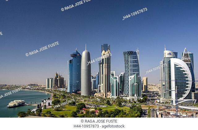 Burj, Doha, Qatar, Middle East, World Trade Center, architecture, bay, city, colourful, corniche, futuristic, green, panorama, park, promenade, skyline