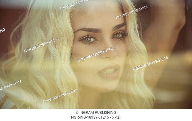 Closeup portrait of the sensual blond lady