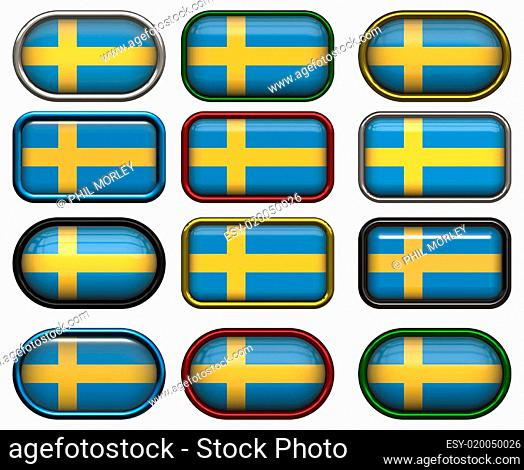 12 buttons of the Flag of Sweden