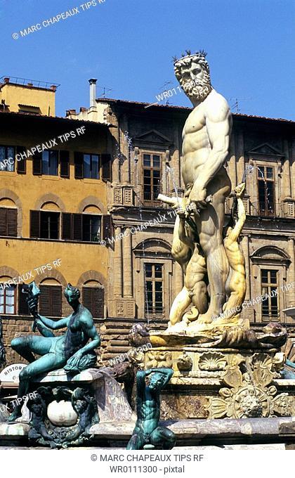 Europe, Italy, Florence, Piazza Signoria, Ammannati fountain and Nettuno statue