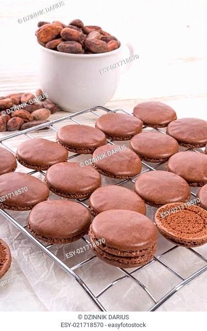 chocolate macarons with cardamom