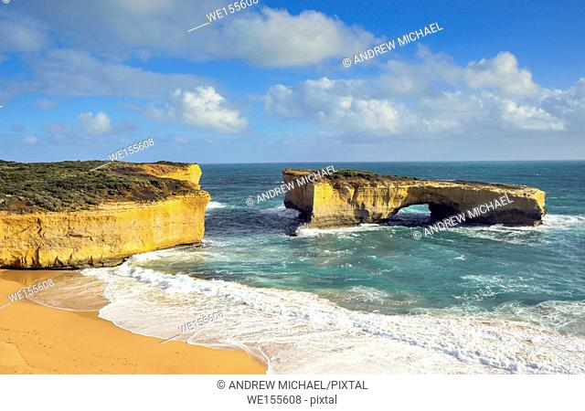London Bridge, a famous rock arch in the Port Campbell National Park at the Great Ocean Road in Victoria, Australia