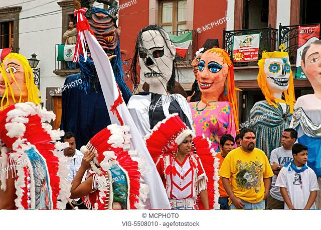 INDIGENOUS DANCE TROUPES from all over MEXICO parade through the streets in celebration of San Miguel Arcangel, the patron saint of SAN MIGUEL DE ALLENDE each...