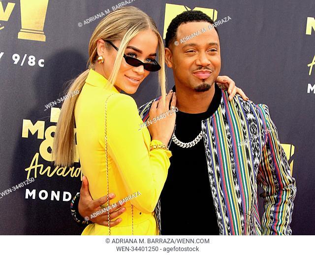 MTV Movie and TV Awards 2018 held at Barker Hangar in Santa Monica, California. Featuring: Jasmine Sanders, Terrence Jenkins, aka Terrence J Where: Los Angeles