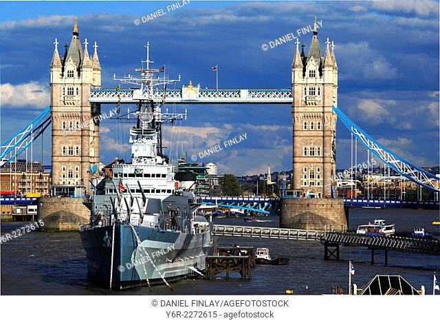 The Tower of London and HMS Belfast in the heart of London, England, on a Summer's day