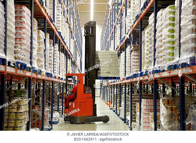 Forklifts, Pallet warehouse, Packaging canned vegetables, Canning Industry, Agri-food, Logistics Center, Grupo Riberebro, Alfaro, La Rioja, Spain