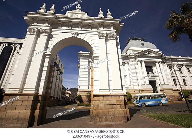 View to the Arch and Tribute Of The Supreme Court Of Justice-Homenaje del Tribunal Supremo de Justicia at the historic center, Sucre, Chuquisaca Department