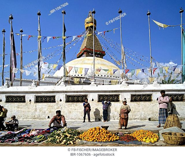 Market in front of the Boudhanath stupa, Kathmandu, Nepal, South Asia