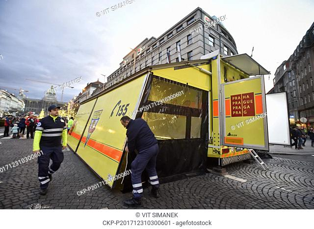 Rescue service with the Golem EMS module truck is seen prior to a New Year's celebrations in Prague, Wenceslas Square, on Sunday, Dec 31, 2017