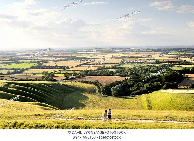 Northwest over The Manger at prehistoric complex of White Horse Hill, Uffington, England. Ice cut ridges of the Giant's Stair