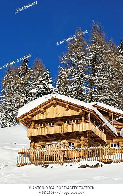 Wooden mountain chalet on Mount Elmo. sesto Municipality. Bolzano Province. Trentino-Alto Adige. Italy