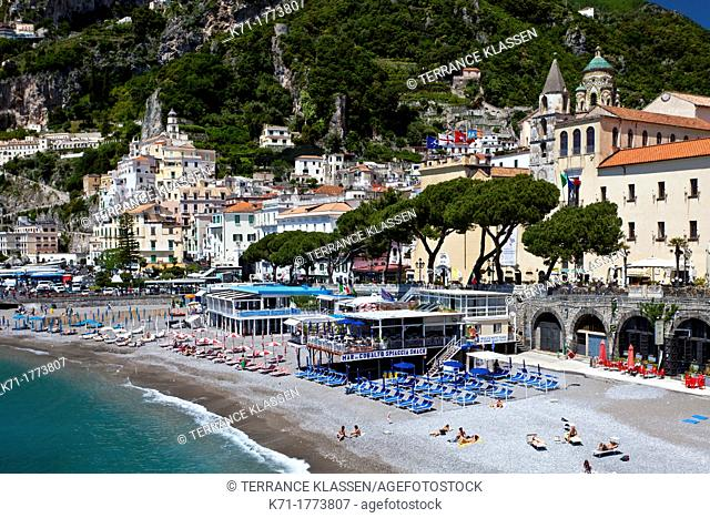 The swimming beach in the town of Amalfi on the Gulf of Salerno in southern Italy