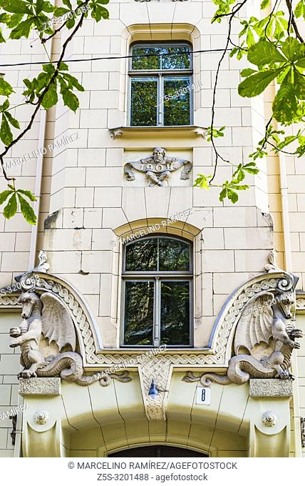 Art nouveau architecture in Riga - Building on the Antonijas iela 8, Riga. Built in 1903 by architect Konstantins Peksens