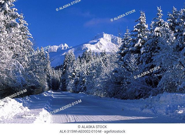 Snowy Road Coastal Mtns Juneau Southeast Alaska winter scenic