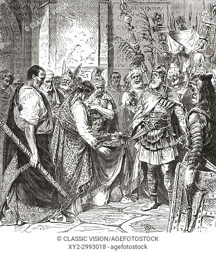 Flavius Odoacer forces Romulus Augustus to resign the Crown, 476 AD. Flavius Odoacer, c. 433- 493 AD, aka Flavius Odovacer or Odovacar