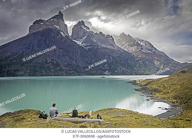 Mirador Cuernos, in Lago Nordenskjöld, You can see the amazing Cuernos Del Paine and Monte Almirante Nieto, Torres del Paine national park, Patagonia, Chile