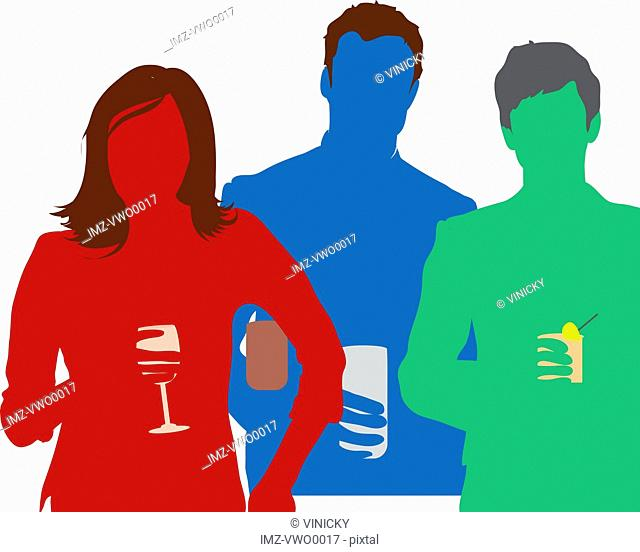 Silhouettes of people holding beverages