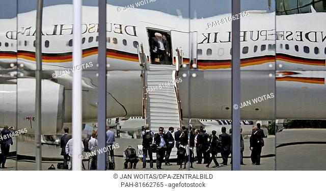 German Foreign Minister Frank-Walter Steinmeier boards a German government aircraft at the end of his visit to Yerevan, Armenia, 29 June 2016