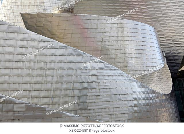 Detail of the modern Guggenheim Museum, Bilbao, Spain