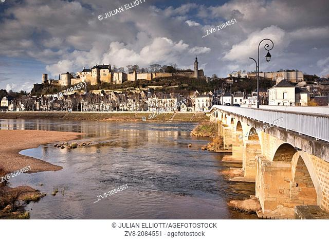 The chateau and town of Chinon on the banks of the river Vienne in France. The area falls under the juristriction of the Loire Valley