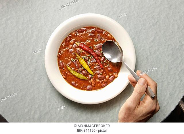 Plate of Chilli-Con-Carne with Peperoni