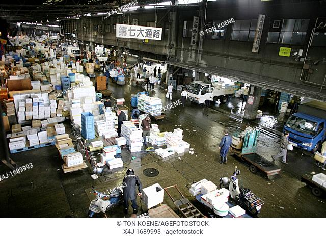 Tsukiji is the largest fishmarket in Tokyo between 5 am and 8 am all the fish from the harbour will arrive in this market and prepared for wolesale Huge tuna...