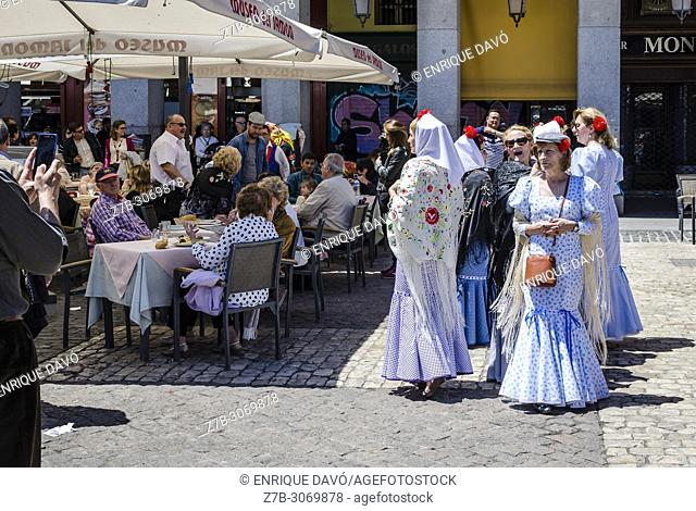 People in traditional costumes in Plaza Mayor during the celebration of San Isidro, Madrid city, Madrid, Spain