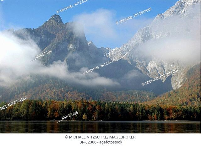 The Lake Koenigssee in the national park Berchtesgaden, Bavaria, Germany