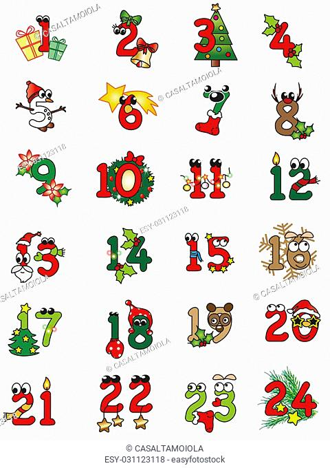 illustration of christamas numbers isolated