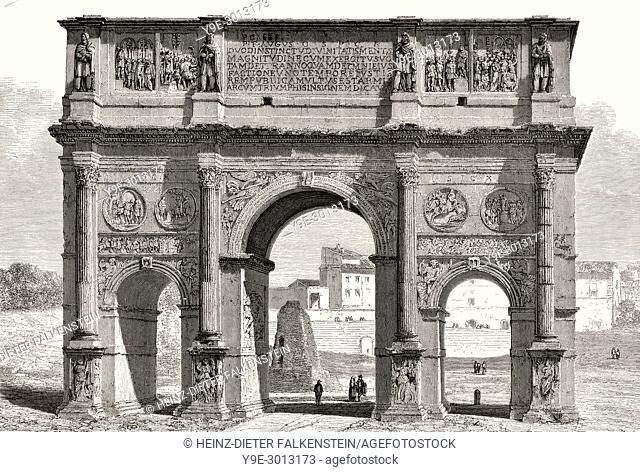 The Arch of Constantine, Via triumphalis, Rome, Italy, 19th Century